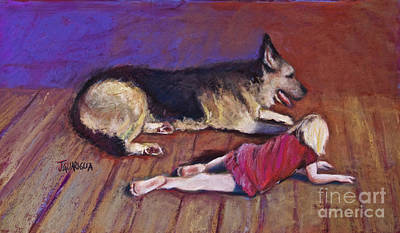 Pastel - Dog And Child by Joyce A Guariglia