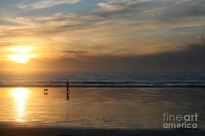 Dog And Man On The Beach Art Print