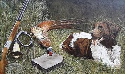 Dog And Pheasant Art Print by Zeljko Djokic