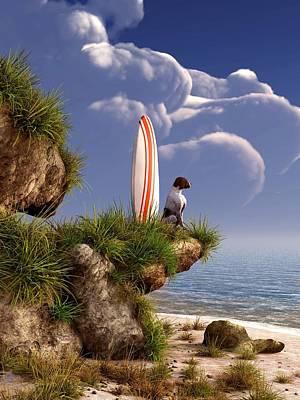English Dog Digital Art - Dog And Surfboard by Daniel Eskridge