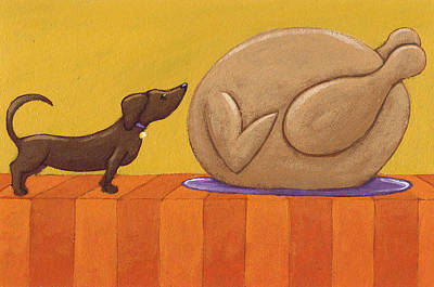 Dachshund Puppy Painting - Dog And Turkey by Christy Beckwith