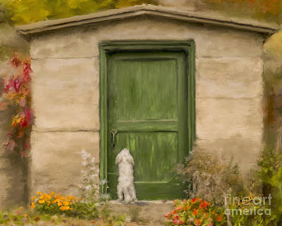 Dog At The Door Art Print