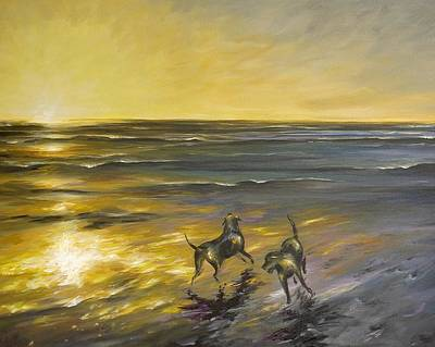 Art Print featuring the painting Dog Beach by Dina Dargo