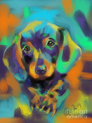 Animals Painting - Dog Bobby by Go Van Kampen
