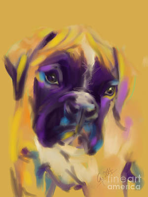 Boxer Painting - Dog Boxer Bobby by Go Van Kampen