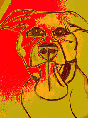 Pitbull Painting - Dog Breath by Erica  Darknell