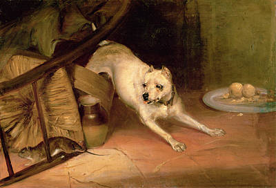 Dog Chasing A Rat Oil On Canvas Art Print by Briton Riviere