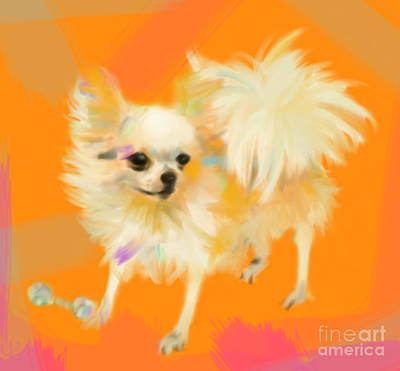 Painting - Dog Chihuahua Orange by Go Van Kampen