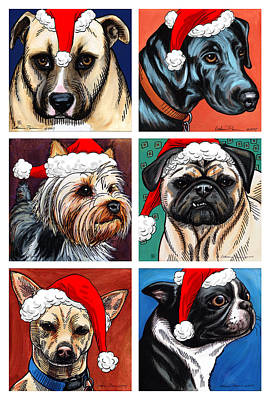Labrador Digital Art - Dog Christmas Card by Katherine Plumer