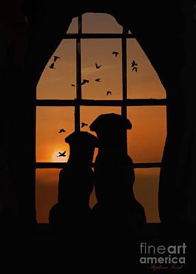 Dog Couple In Window Art Print