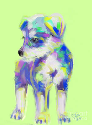 Painting - Dog Cute Puppy by Go Van Kampen