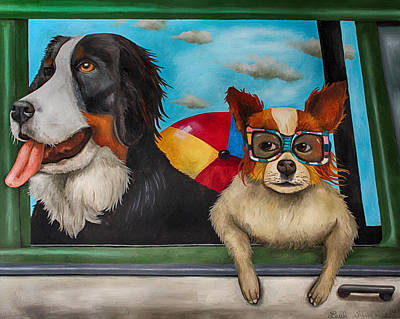 Dog Beach Painting - Dog Days Of Summer Edit 3 by Leah Saulnier The Painting Maniac
