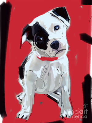 Painting - Dog Doggie Red by Go Van Kampen