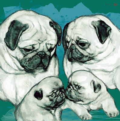 Pop Art Drawing - Dog Family Stylised Pop Modern Art Drawing Sketch Portrait by Kim Wang