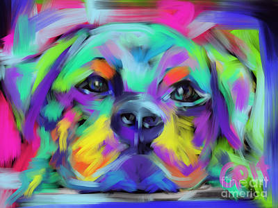 Painting - Dog Hug by Go Van Kampen