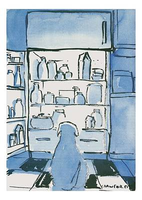 Open Drawing - Dog In Front Of An Open Refrigerator by Michael Crawford