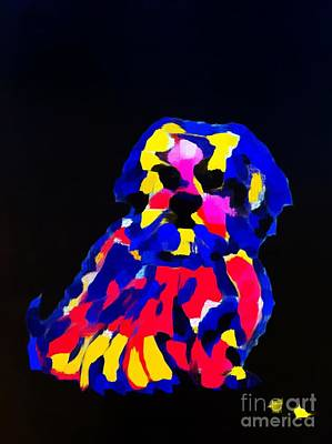 Painting - dog-Lahasa Apsos Tibetin Pooch Impression by Saundra Myles