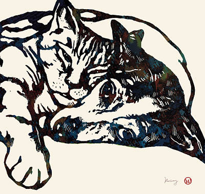 Dog Abstracts Mixed Media - Dog Love With Cat Stylised Pop Art Sketch Poster by Kim Wang