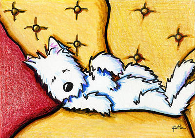 Westie Terrier Drawing - Dog Napped by Kim Niles