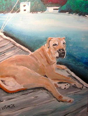 Lakefront Wharf Painting - Dog On Dock by Michael Litvack