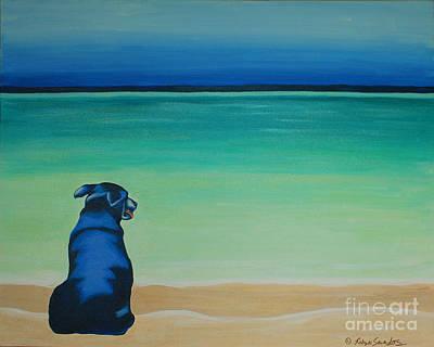 Dog On Longbay Beach Original by Robyn Saunders
