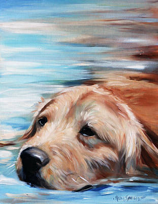 Golden Retriever Painting - Dog Paddle by Mary Sparrow