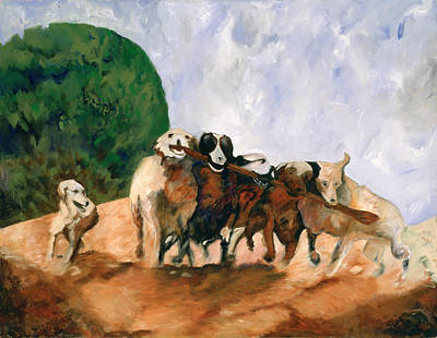 Dog At Play Painting - Afternoon Roundup by Barbara J Hart