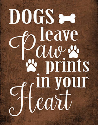 Paws Painting - Dog Paw Prints by Tamara Robinson
