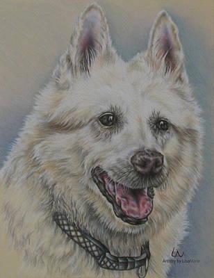 Dog Portrait Of Shep Mix Art Print by Lisa Marie Szkolnik