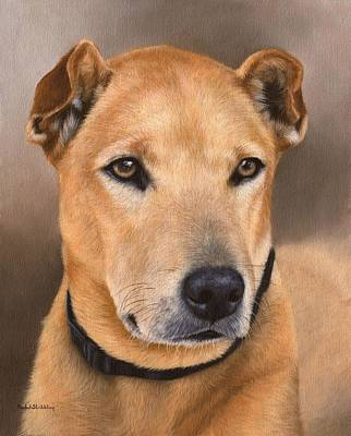 Painting - Dog Portrait Painting - In Support Of The Bles Cat And Dog Home by Rachel Stribbling