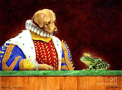 Yellow Lab Painting - Dog Prince...frog Prince... by Will Bullas