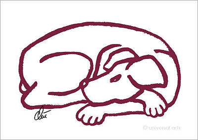 Lazy Dog Digital Art - Dog Red by Jacqueline Ditt