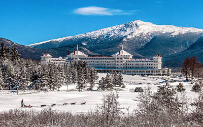 Dog Sled At The Mount Washington Hotel Art Print