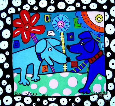 Dog Speak Art Print by Susan Sorrell