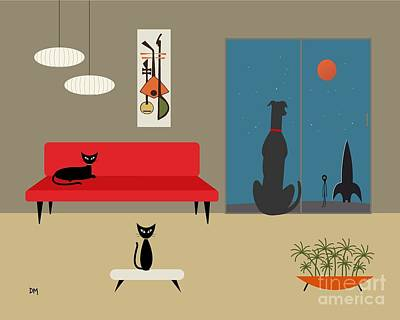Eames Digital Art - Dog Spies Alien by Donna Mibus