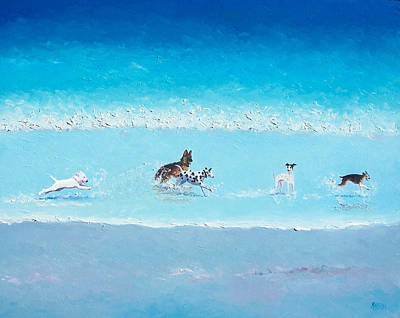 Dogs On Beach Painting - Dog Splash by Jan Matson