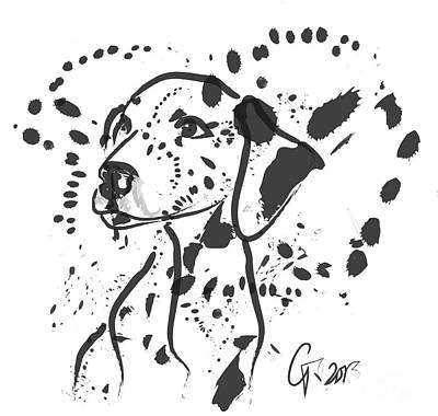 Dog Abstract Art Painting - Dog Spot by Go Van Kampen