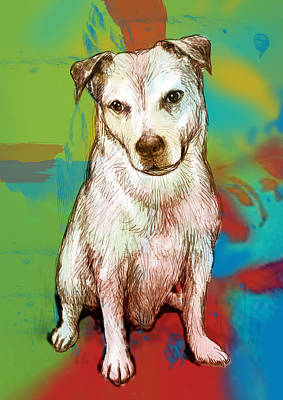 Abstract Pop Drawing - Dog Stylised Pop Modern Art Drawing Sketch Portrait by Kim Wang