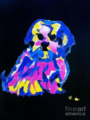 Painting - Dog-tibetin Lhasa Apsos Impression by Saundra Myles