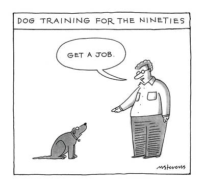 Dog Training For The Ninties Art Print by Mick Stevens