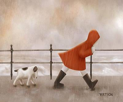 Dog Walking Digital Art - Dog Walk by Marlene Watson