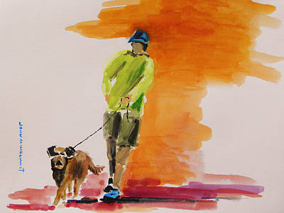 Simplicity Drawing - Dog Walker by John Williams