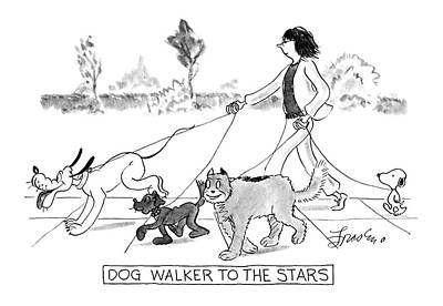 Walking Drawing - Dog Walker To The Stars by Edward Frascino