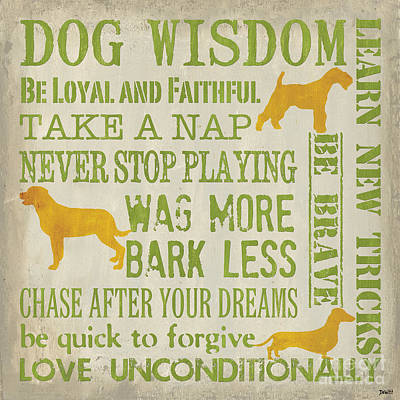 Grey Painting - Dog Wisdom by Debbie DeWitt