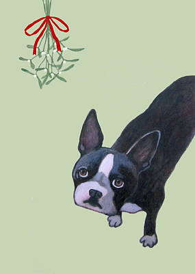 Painting - Dog With Mistletoe For Christmas Cards by Kazumi Whitemoon