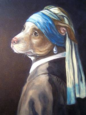 Dog With Pearl Earring Art Print