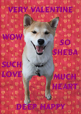 Painting - Valentine Doge Shiba Inu Card by Ruth Soller