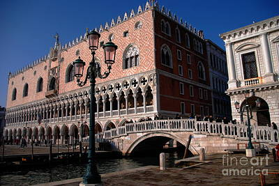 Doges Palace With Bridge Of Sighs Art Print by Jacqueline M Lewis