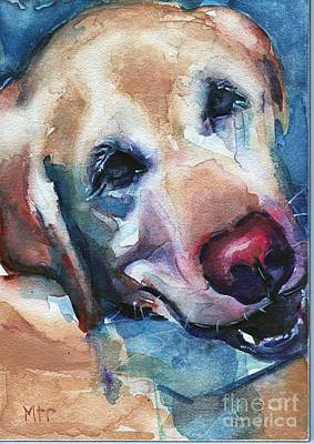 Watercolor Pet Portraits Painting - Doggie Breath by Maria's Watercolor