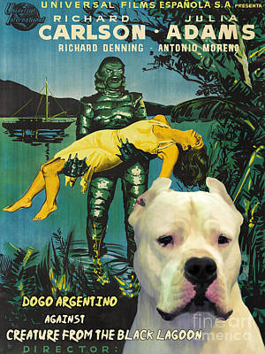 Painting - Dogo Argentino Art Canvas Print - Creature From The Black Lagoon Movie Poster by Sandra Sij